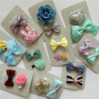 Wholesale Butterfly Clip Plastic - New bow baby hair barrette clips printing ribbon fashion butterfly hairpin girls accessories knot headwrap hair barrette