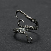 Wholesale Open Style Rings - Zinc Alloy Punk Style Squid Octopus Ring 2017 New Men's Jewelry Animal Opened Adjustable Finger Ring for Man Black Gold Color