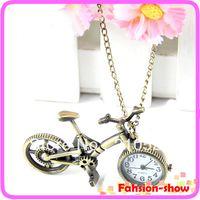 Wholesale Bicycle Necklace Watch - Wholesale- Retro Mini Bronze Bike Bicycle Design Quartz Pocket Watch Pendant Necklace Chain Free Shiping