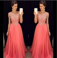 Wholesale Luxurious Chiffon Dress - 2017 Luxurious Coral Bridesmaid Dresses Bling Prom Dresses A Line Scoop with Beading and Rhinestones Zipper Back Long Dresses Evening Wear