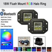 Wholesale Halo Mount Ring - 18W Flush Mount LED Work Light Bar Spot Flood w  RGB Halo Ring Multicolor Changing StrobeFlash Bluetooth Music Modes Pack 2