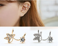 Wholesale Crystal Earrings Single - Single one Cute Birds Rhinestone Earrings Without ear hole Earring clip on crystal earring wholesale free shipping