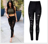 Wholesale Hot Sale ripped jeans for women Denim hole trousers Slim High waist stretch pants full length pencil pants Plus Size Close Fitting Pants