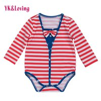 Wholesale Patriotic Clothing - 4th Of July Baby Boy Girls long Sleeve Rompers Striped Festival Cotton Jumpsuit Clothes Bow Patriotic American Flag Kids 0-2 Years Clothing