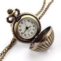 Wholesale Pumpkin Resin - Wholesale-Pumpkin Ball Necklace Pendant Quartz Pocket Watch Mens Womens Lady Gift P67
