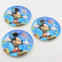 Wholesale Kids Favors Mickey Tableware Baby Shower Happy Birthday Party Cartoon Theme Dishes Paper Plates Decoration Supplies