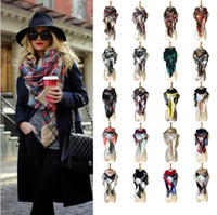 Wholesale Women Plaid Scarves Grid Tassel Wrap Oversized Check Shawl Tartan Cashmere Scarf Winter Neckerchief Lattice Blankets Fashion YYA89