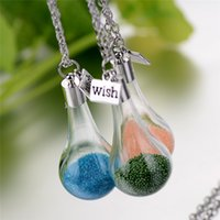 Wholesale Glass Container Pendant Necklaces - Wishing Bottle Necklace Candy color DIY drift glass bottle pendant bead decorative container jewelry cute fashion jewelry BY DHL 162275