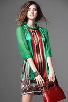 Wholesale ladies chiffon style dresses - Women Summer Silk Dress New Fashion European Style Elegant Vintage Pattern Green Print Dresses For Lady Plus Size Clothing G2519