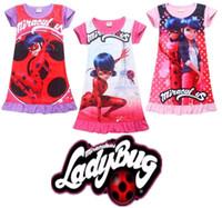 Wholesale Pink Ladybug - 2018 Summer Baby Girl Dress Ice Silk Cartoon Miraculous Ladybug Kids Pajamas Ruffle Hem Extra Comfy Girls Clothes Children Clothing
