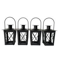 iron metal candle holders оптовых-Бесплатная доставка дешевые классический маленький металлический подсвечник маленький железный фонарь черный цвет небольшой свадебный фонарь