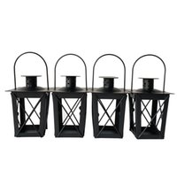 Wholesale Tealight Candle Holder Free Shipping - Free shipping Cheap classical small Metal candle holder Small Iron lantern Black Color small wedding lantern