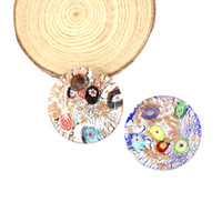 Wholesale Glass Heart Bulk - Round Big Pendants Millefiori Handmade Lampwork Glass Pendants Gold Sand With Mix Colors in bulk stock 12pcs pack MC0023