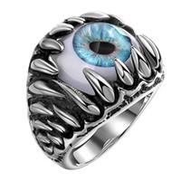 augen türkis großhandel-Antike Maya Evil Eye Edelstahl Edelstein Ring europäischen und amerikanischen kreativen Männer Titan Stahl Ringe Vintage Türkis Antik Ringe