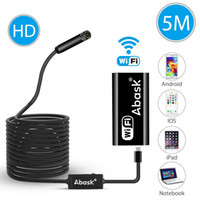 Wholesale Lighted Inspection Snake Camera - Wireless Endoscope,5M IP67 Waterproof WiFi Borescope Inspection Camera 2.0 Megapixels Snake HD Video With 8 Led Lights