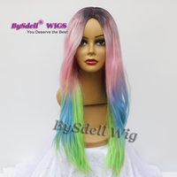 ingrosso parrucca scuro rosa lungo-New Mermaid Rainbow Color Hairstyle Parrucca Lungo rettilineo Bellezza pastello Ombre Colore Anime Parrucca Cosplay Rosa, verde blu Radici scure