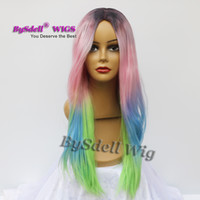 Wholesale Pink Cosplay Wig Long - New Mermaid Rainbow Color Hairstyle Wig Long Straight Beauty Pastel Ombre Color Anime Cosplay Wig Pink, Green Blue Dark Roots
