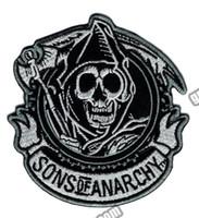 ağır metal yamaları toptan satış-Moda SOA Reaper Ekip İşlemeli Demir On Patch Motosiklet Ağır Metal Punk Aplike Rozet Ön Yama 3.5