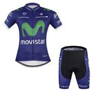 Wholesale Movistar Jersey Bibs - movistar team Summer Cycling Jerseys Ropa Ciclismo Breathable Bike Clothing Quick-Dry Bicycle Sportwear GEL Pad Bike Bib Pants A102