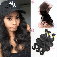 Wholesale Peruvian Frontal - 360 Lace Frontal With Bundles 9A Body Wave Peruvian Virgin Human Hair 3Pcs Bundles With 360 Lace Band Frontal Closure Natural Hairline
