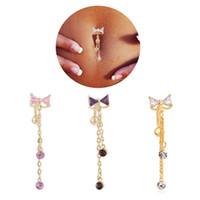 ters karın halkaları toptan satış-Yeni Ters Belly Button Yüzük Dangle Ilmek Temizle CZ Göbek yüzükler Bar Altın Kaplama Dangle Vücut Takı Piercing