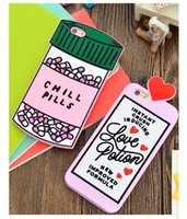 Wholesale Pink Pill - Chill Pills Love Potions Silicone case Phone Back Cover For iphone 7 5 se 6 6s plus S7 note 4 3D Soft