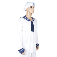 Wholesale Sailor S Hat - FantastCostumes Mens sailor costume Adult Man Of The Sea Shirt And Hat carnival party cosplay halloween