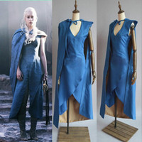 Wholesale Dress Blue Cosplay - Film Game of Thrones Daenerys Targaryen cosplay costume blue dress + cloak A Song of Ice and Fire Movie Cosplay Costume