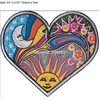Wholesale Heart Transfers - HEART MOON SUN Dan Morris Art Hippie Band patch Heavy Metal Music Rock Punk Rockabilly sew on iron on transfer badge
