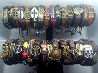 Wholesale Vintage Alloy Bracelets - Wholesale lots 50pcs Mixed Styles Vintage Alloy Charm leather Cuff Bracelets Wristband Jewelry For Man Women