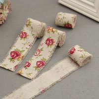 Wholesale 20M Cotton Cloth Roll cm Width Torn Edges Flower Printing Linen Fabric DIY Craft Supplies For Sewing Decoration