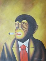 Wholesale Large Framed Oil Painting Canvas - Framed, smoking monkey cigar large,Handpainted Modern Animals Art Oil Painting,Home Wall Decor Quality Canvas size can be customized R49