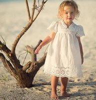 Wholesale Spring Clothes Arrival For Kids - New arrival princess baby dress INS fly sleeve embroidery hollowed V-neck white dress cute girl dress kids clothing for 100-140cm