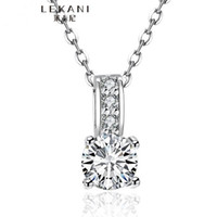Wholesale Sterling Silver Solid Chain - 100% Pure 925 Sterling Silver Pendant Necklace 1.5 Ct SONA CZ Diamond Engagement Necklace Solid Silver Wedding Necklaces for Women