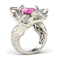 Wholesale Si Diamond Ring - Fine New Wholesale Unique Fashion Jewelry 925 Sterling Silver Cushion Shape Pink Sapphire CZ Diamond Women Wedding Band Mermaid Ring Gift Si