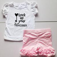 Wholesale Ice Lock - lock up puff short sleeve t-shirts set summer icing tees top sets dress ruffles short summer outfits