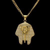 Ancient Egypt Charm Necklace Pharaoh King Gold Color Stainless Steel Necklaces Pingentes Jóias vintage para homens / mulheres