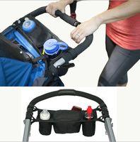 Wholesale Pram Stroller Carriage - Outdoor Black Baby Stroller Cup Bag Organizer Baby Carriage Pram Bottle Diaper Bags Mummy Bag