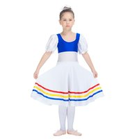 Wholesale Children Dance Wear Shorts - Modern Dance Dress Nylon Lycra Classic Dress Short Sleeve Long Skirt Girls Performance wear Children Stage Costumes