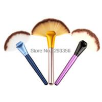 Wholesale Large Makeup Fan Brush - Hot big fan Cosmetics brushes 3 colors for choose Soft Makeup Large Fan Brush Blush Powder Foundation Make Up Tool free shipping
