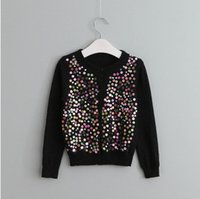 Wholesale Girls Colorful Cardigans - Kids cardigan girls colorful sequins long sleeve outwear children knitting single breasted coat kids 2017 gril spring autumn clothing T3706