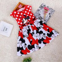 Wholesale Girl Hour - Summer new girls big dots Mickey Mouse Minni cartoon short-sleeved dress Children's wear 72 hours delivery 80-120cm