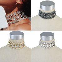 Wholesale Womens Chunky Chain Necklace - Womens Fashion Luxury Full Crystal Rhinestone Chunky Wide Choker Collar Bib Statement Necklace Charms Jewelry