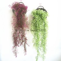 Wholesale Wall Hanging Bell - Simulation of the golden bells of the wall hanging flowers living room decoration rattan simulation plant wall wholesale fake flowers green