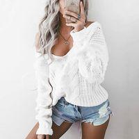 Wholesale Oversized Xxl - New Plus Size Knitted Tops With Low V Neck Women Sweater Warm Chunky Oversized S-XXL LX3948