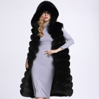 Wholesale Full Leather Hoods - Full Leather Real Fox Fur Vests Medium-long Women's Fur Coat with A Hood Thick Warm Fur Long Length Sleeveless Hot Sale Vest