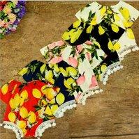 Wholesale Childrens Jumpsuits - Summer Toddler Lace Tassel Rompers Bebe Print Lemon Jumpsuits Babies Summer Fashion Romper 2017 childrens clothing