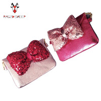 Wholesale Sheep Coin - Wholesale- Raged Sheep Lovely Children one shoulder bag Bow coin purse cute Sequins girls messenger bag baby accessories