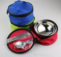 Wholesale Chopsticks Portable - Folding Bowl Sets Spoon Chopsticks Bowl Set Portable Tableware Dinnerware Folding Spoon Outdoor Travel Camping Bowls OOA2825