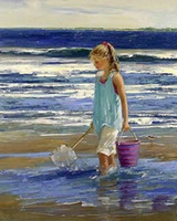 Wholesale Young Girl Oil Paint - Framed beautiful young girl fishing by the sea,genuine Pure Handpainted Impressionism Portrait Art oil Painting Thick Canvas Multi Size ny